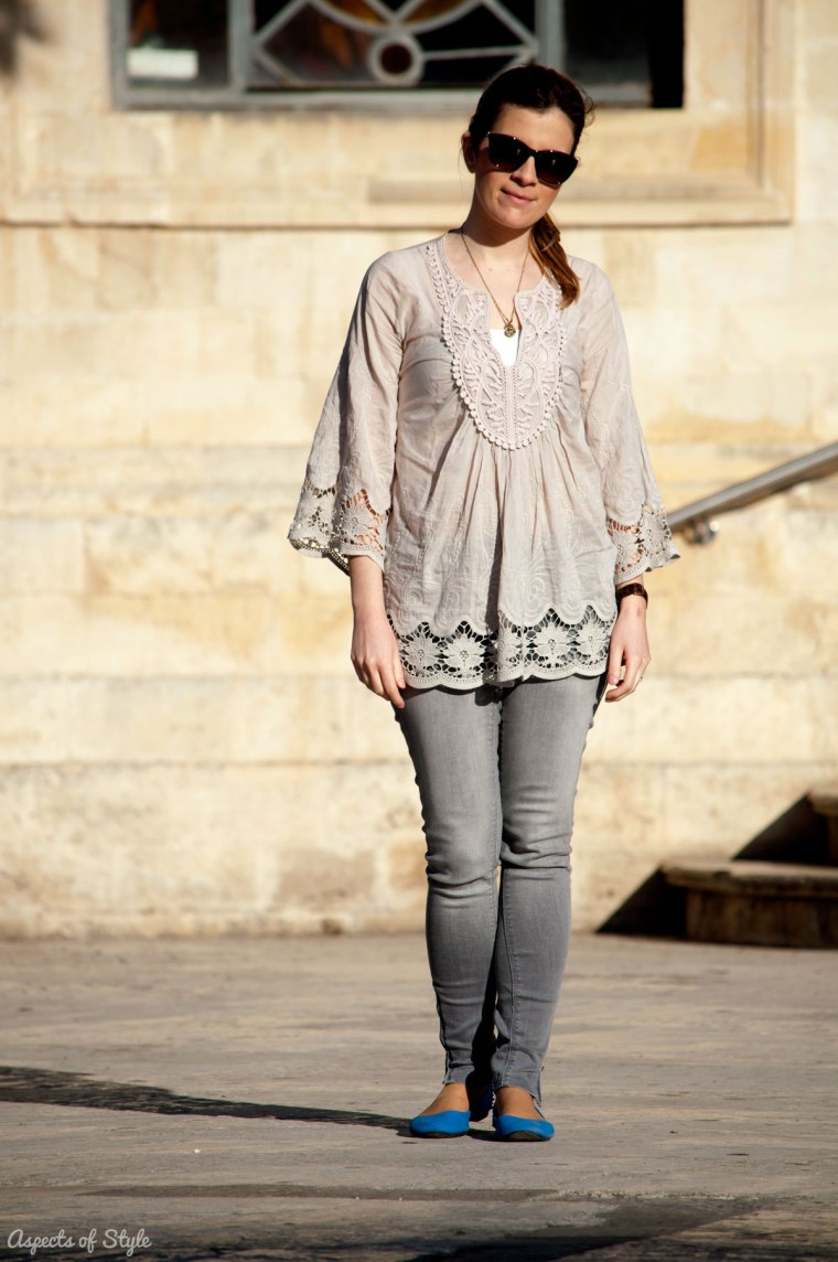 grey silk blouse, grey jeans