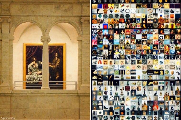 the atriumof Harvard Art Museum/ Photos of the exhibits
