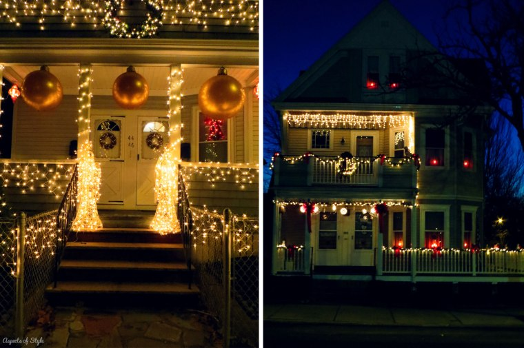 Christmas decorations in Medford (left) and Somerville(right)