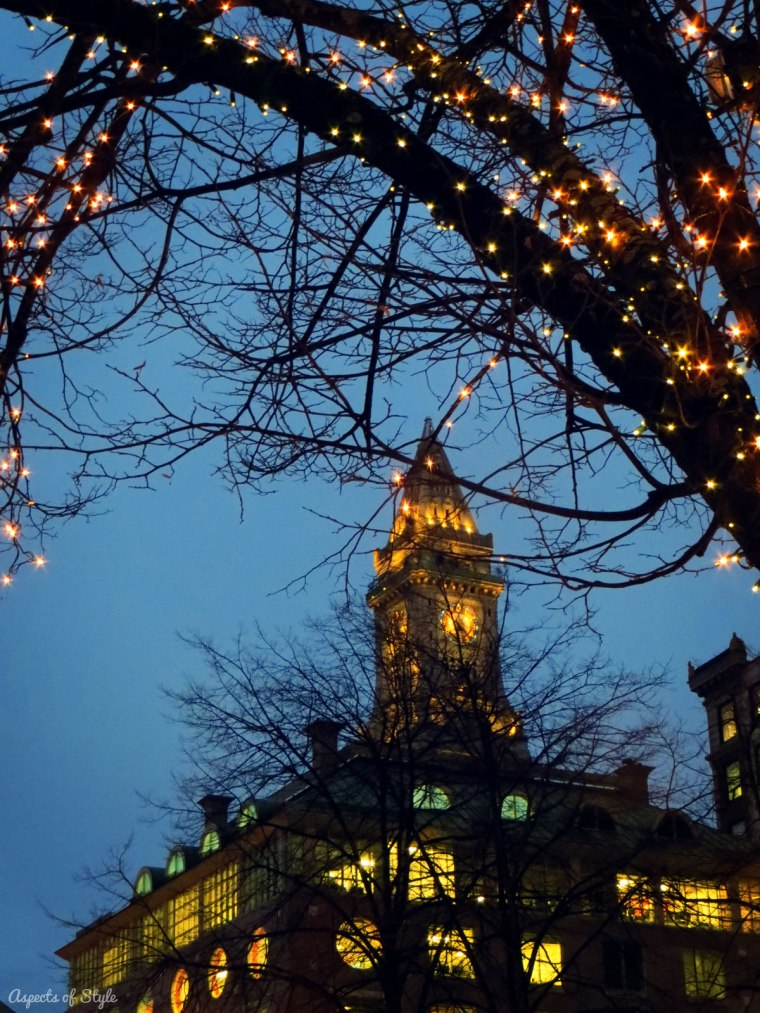 Christmas lights in Faneuil Hall