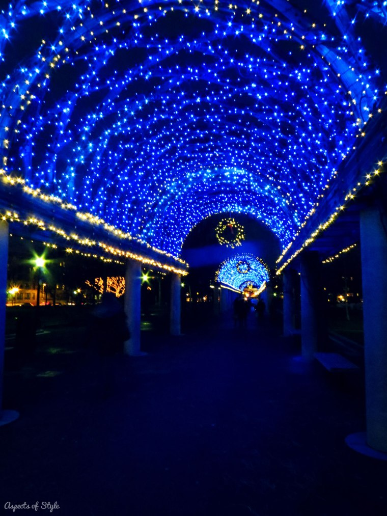Christmas lights in Christopher Colombus park