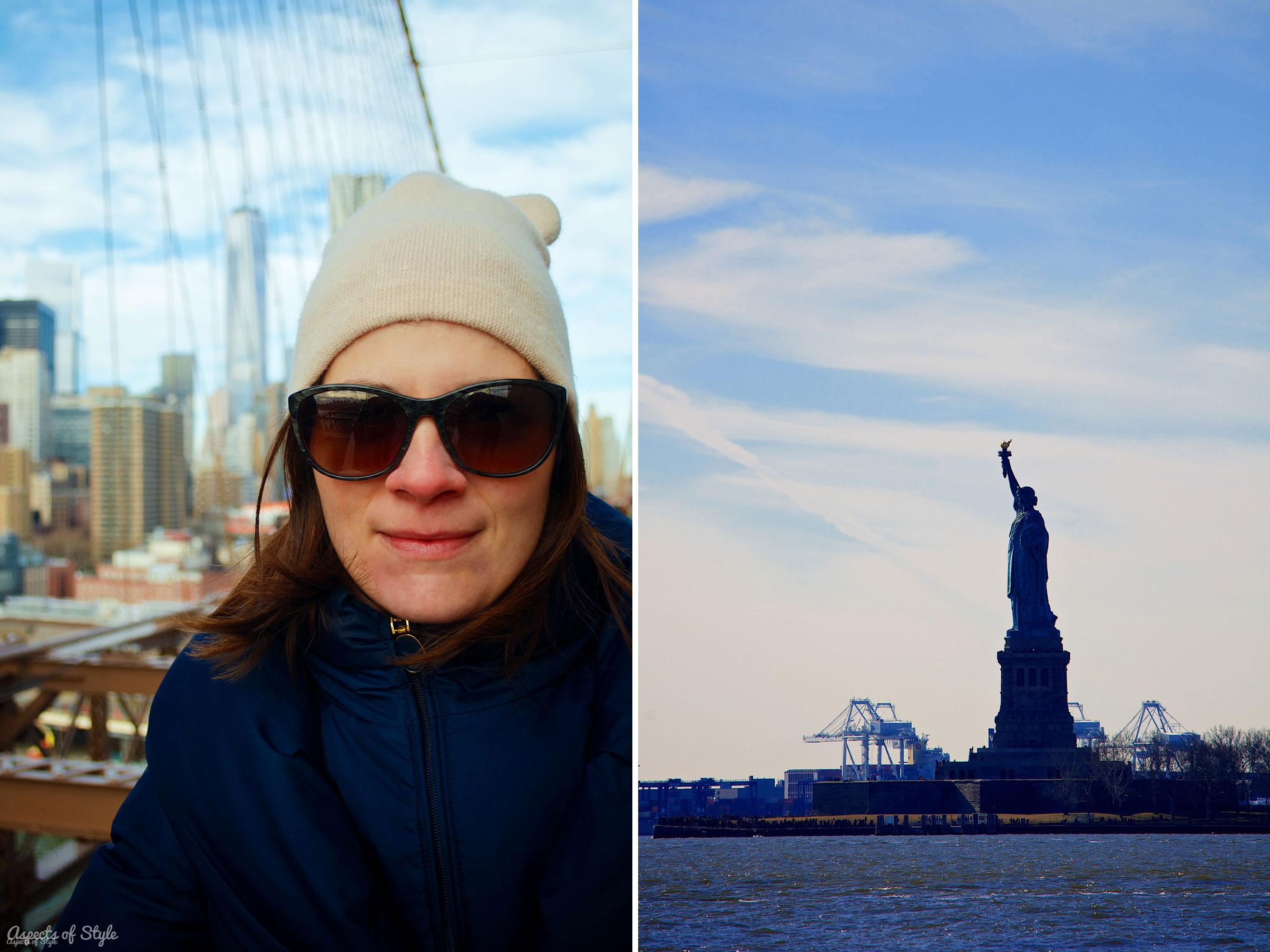 Anna in Brooklyn Bridge and Statue of Liberty